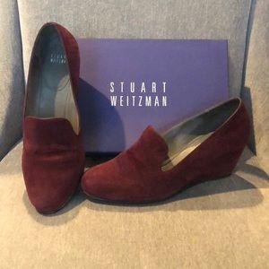 Stuart Weitzman Bordeaux(Dark Red) Suede Wedges